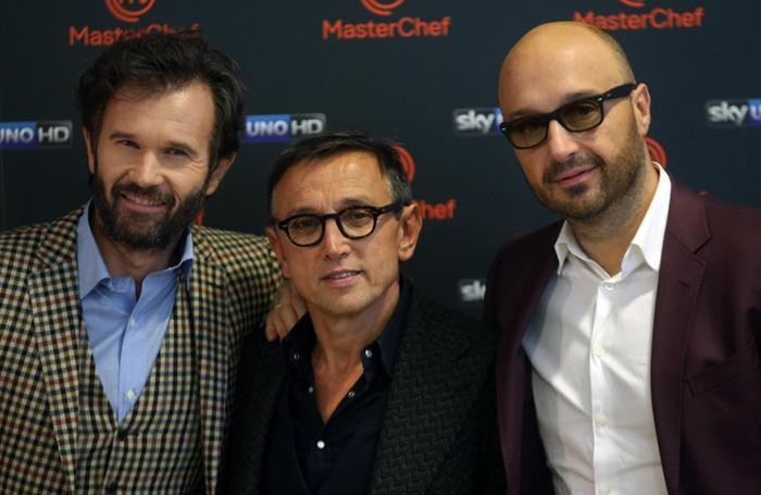 I giudici di MasterChef: da sinistra, Carlo Cracco, Bruno Barbieri e Joe Bastianich