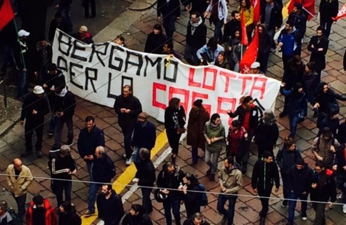 Manifestanti anche da Bergamo