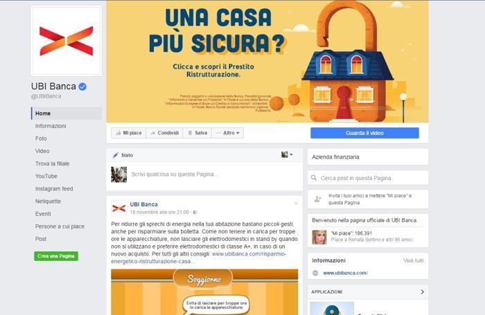 Il profilo Facebook di Ubi Banca