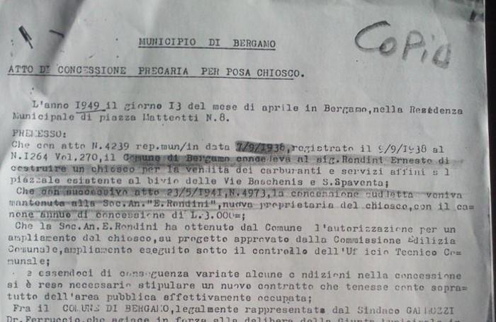 L'atto di concessione per il benzinaio di via Baschenis