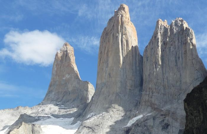 Le tre Torres del Paine viste dal vicino: La Torre Sud De Agostini, la Torre Centrale e la Torre Nord Monzino